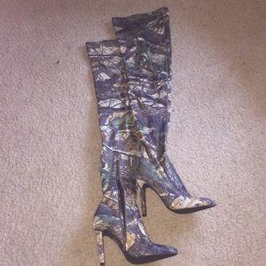 Khaki camouflage thigh high boots